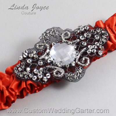 Mandarin-Orange and Black Wedding Garter / Orange Wedding Garters / Bijou #01-A02-765-Mandarin-Orange_Black / Wedding Garters / Custom Wedding Garters / Bridal Garter / Prom Garter / Linda Joyce Couture