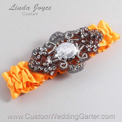 Curry and Black Wedding Garter / Orange Wedding Garters / Bijou #01-A02-772-Curry_Black / Wedding Garters / Custom Wedding Garters / Bridal Garter / Prom Garter / Linda Joyce Couture