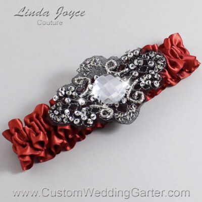 Rust and Black Wedding Garter / Orange Wedding Garters / Bijou #01-A02-780-Rust_Black / Wedding Garters / Custom Wedding Garters / Bridal Garter / Prom Garter / Linda Joyce Couture