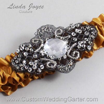 Topaz and Black Wedding Garter / Gold Wedding Garters / Bijou #01-A02-783-Topaz_Black / Wedding Garters / Custom Wedding Garters / Bridal Garter / Prom Garter / Linda Joyce Couture