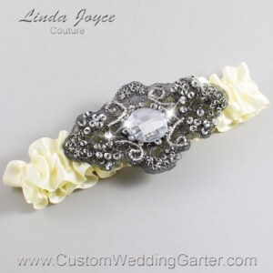Cosmic Latte and Black Wedding Garter / Ivory Wedding Garters / Bijou #01-A02-810-Cosmic-Latte_Black / Wedding Garters / Custom Wedding Garters / Bridal Garter / Prom Garter / Linda Joyce Couture