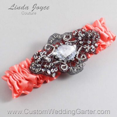 Woodrose and Black Wedding Garter / Orange Wedding Garters / Bijou #01-A02-816-Woodrose_Black / Wedding Garters / Custom Wedding Garters / Bridal Garter / Prom Garter / Linda Joyce Couture