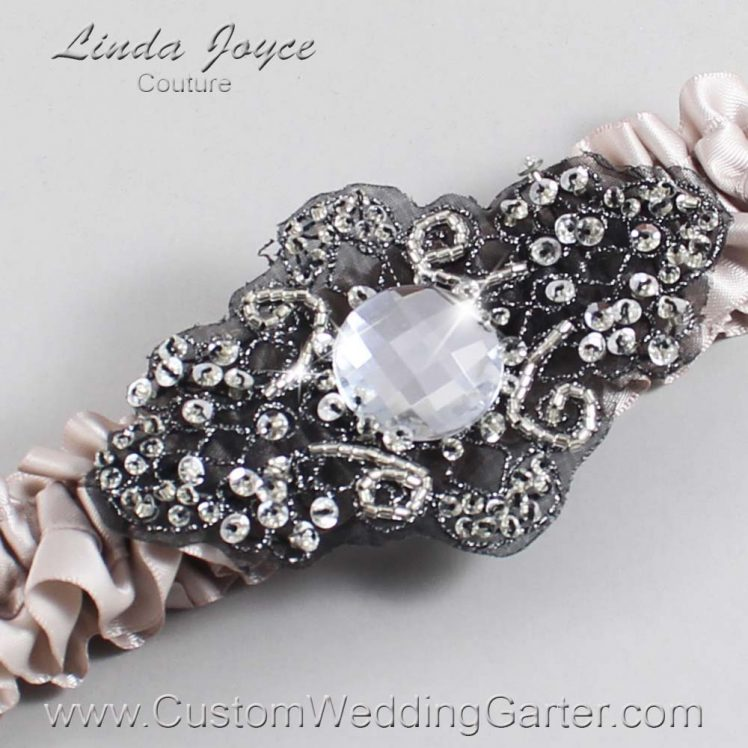 Carmandy Wedding Garter / Gray Wedding Garters / Wedding Garter / Custom Wedding Garter / Linda Joyce Couture / Bijou #01-A02-818-Carmandy_Black