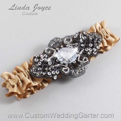 Desert Sand and Black Wedding Garter / Brown Wedding Garters / Bijou #01-A02-830-Desert-Sand_Black / Wedding Garters / Custom Wedding Garters / Bridal Garter / Prom Garter / Linda Joyce Couture
