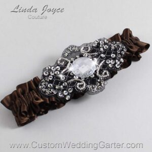 Coffee and Black Wedding Garter / Brown Wedding Garters / Bijou #01-A02-850-Coffee_Black / Wedding Garters / Custom Wedding Garters / Bridal Garter / Prom Garter / Linda Joyce Couture