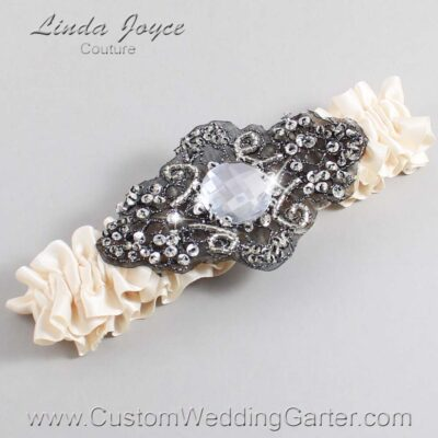 Antique White and Black Wedding Garter / Ivory Wedding Garters / Bijou #01-A02-860-Antique-White_Black / Wedding Garters / Custom Wedding Garters / Bridal Garter / Prom Garter / Linda Joyce Couture