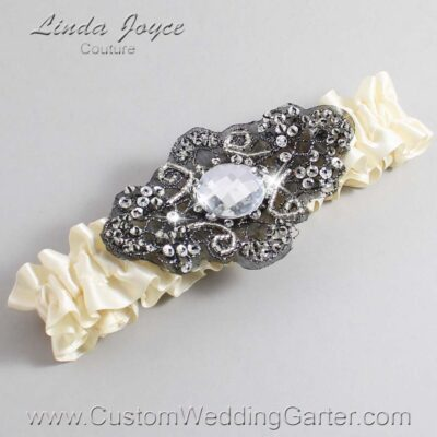 Ivory and Black Wedding Garter / Ivory Wedding Garters / Bijou #01-A02-871-Ivory_Black / Wedding Garters / Custom Wedding Garters / Bridal Garter / Prom Garter / Linda Joyce Couture