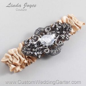 Tan and Black Wedding Garter / Brown Wedding Garters / Bijou #01-A02-892-Tan_Black / Wedding Garters / Custom Wedding Garters / Bridal Garter / Prom Garter / Linda Joyce Couture