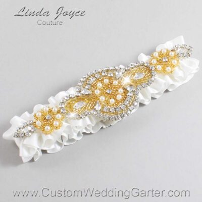 Off White and Gold Wedding Garter / White Wedding Garters / Charlotte #01-A05-000-Off-White_Gold / Wedding Garters / Custom Wedding Garters / Bridal Garter / Prom Garter / Linda Joyce Couture