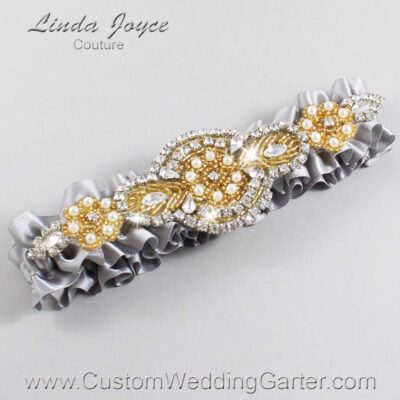 Grey and Gold Wedding Garter / Gray Wedding Garters / Charlotte #01-A05-012-Grey_Gold / Wedding Garters / Custom Wedding Garters / Bridal Garter / Prom Garter / Linda Joyce Couture