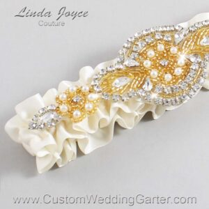 Old Lace and Gold Wedding Garter / Ivory Wedding Garters / Charlotte #01-A05-028-Old-Lace_Gold / Wedding Garters / Custom Wedding Garters / Bridal Garter / Prom Garter / Linda Joyce Couture