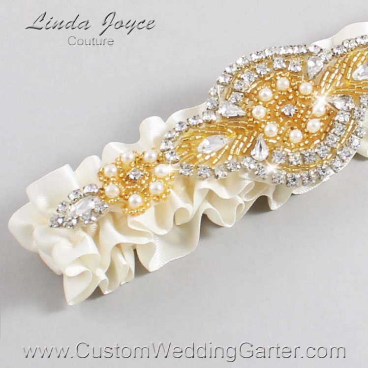 Old Lace Wedding Garter / Ivory Wedding Garters / Wedding Garter / Custom Wedding Garter / Linda Joyce Couture / Charlotte #01-A05-028-Old-Lace_Gold