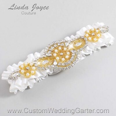 White and Gold Wedding Garter / White Wedding Garters / Charlotte #01-A05-112-White_Gold / Wedding Garters / Custom Wedding Garters / Bridal Garter / Prom Garter / Linda Joyce Couture