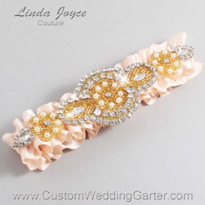 Nude and Gold Wedding Garter / Orange Wedding Garters / Charlotte #01-A05-113-Nude_Gold / Wedding Garters / Custom Wedding Garters / Bridal Garter / Prom Garter / Linda Joyce Couture