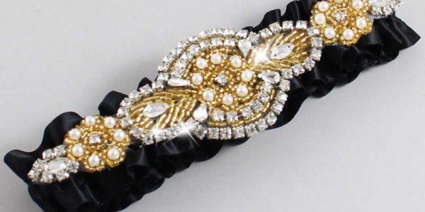Black and Gold Wedding Garter / Charlotte #01-A05-123-Black_Gold