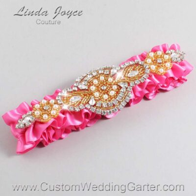 Persian Pink and Gold Wedding Garter / Pink Wedding Garters / Charlotte #01-A05-142-Persian-Pink_Gold / Wedding Garters / Custom Wedding Garters / Bridal Garter / Prom Garter / Linda Joyce Couture