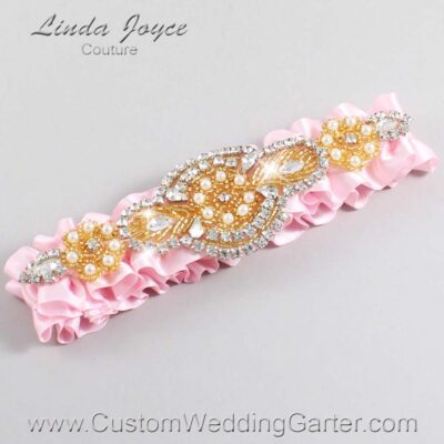 Light Pink and Gold Wedding Garter / Pink Wedding Garters / Charlotte #01-A05-145-Light-Pink_Gold / Wedding Garters / Custom Wedding Garters / Bridal Garter / Prom Garter / Linda Joyce Couture