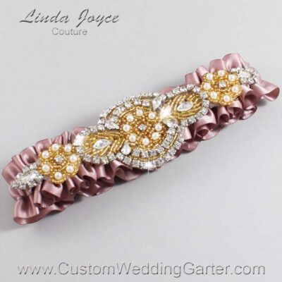 Cameo and Gold Wedding Garter / Pink Wedding Garters / Charlotte #01-A05-146-Cameo_Gold / Wedding Garters / Custom Wedding Garters / Bridal Garter / Prom Garter / Linda Joyce Couture
