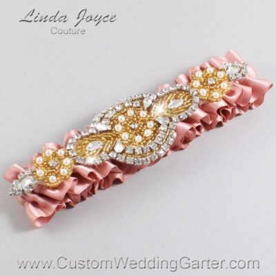 Sweet Nectar and Gold Wedding Garter / Orange Wedding Garters / Charlotte #01-A05-161-Sweet-Nectar_Gold / Wedding Garters / Custom Wedding Garters / Bridal Garter / Prom Garter / Linda Joyce Couture