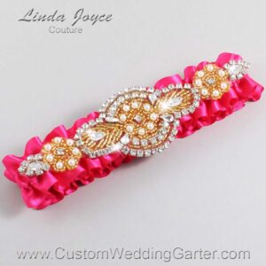 Hot Magenta and Gold Wedding Garter / Pink Wedding Garters / Charlotte #01-A05-175-Hot-Magenta_Gold / Wedding Garters / Custom Wedding Garters / Bridal Garter / Prom Garter / Linda Joyce Couture