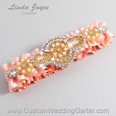 Orange and Gold Wedding Garter / Charlotte #01-A05-203-Moonstone_Gold