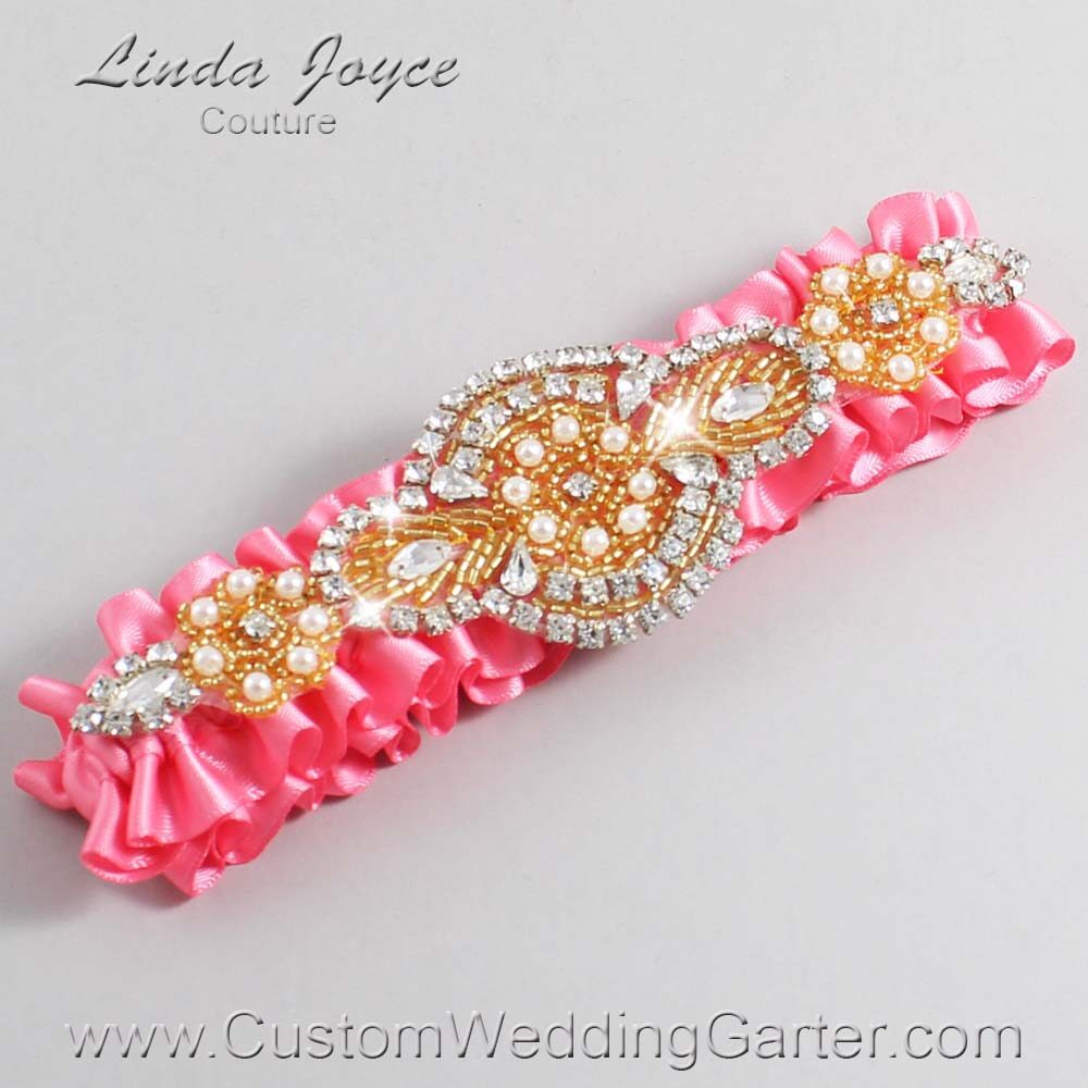 Coral Rose and Gold Wedding Garter / Pink Wedding Garters / Charlotte #01-A05-210-Coral-Rose_Gold / Wedding Garters / Custom Wedding Garters / Bridal Garter / Prom Garter / Linda Joyce Couture