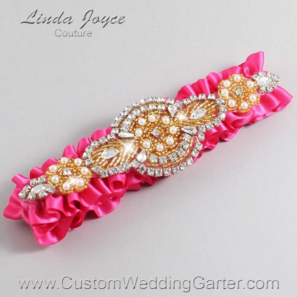 Fuchsia and Gold Wedding Garter / Pink Wedding Garters / Charlotte #01-A05-233-Fuchsia_Gold / Wedding Garters / Custom Wedding Garters / Bridal Garter / Prom Garter / Linda Joyce Couture