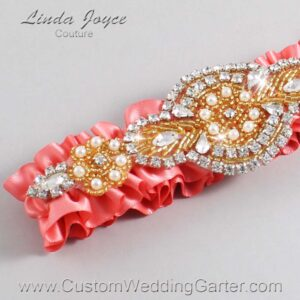 Light Coral and Gold Wedding Garter / Orange Wedding Garters / Charlotte #01-A05-238-Light-Coral_Gold / Wedding Garters / Custom Wedding Garters / Bridal Garter / Prom Garter / Linda Joyce Couture