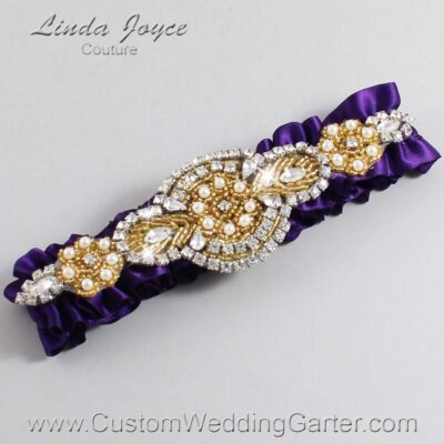 Plum and Gold Wedding Garter / Purple Wedding Garters / Charlotte #01-A05-285-Plum_Gold / Wedding Garters / Custom Wedding Garters / Bridal Garter / Prom Garter / Linda Joyce Couture