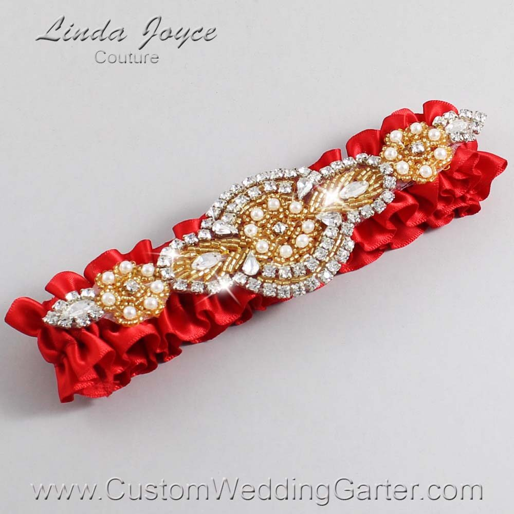 Red and Gold Wedding Garter / Red Wedding Garters / Charlotte #01-A05-299-Red_Gold / Wedding Garters / Custom Wedding Garters / Bridal Garter / Prom Garter / Linda Joyce Couture