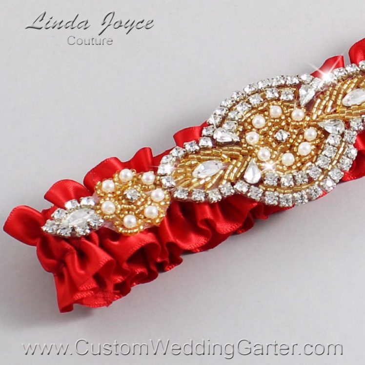 Red Wedding Garter / Red Wedding Garters / Wedding Garter / Custom Wedding Garter / Linda Joyce Couture / Charlotte #01-A05-299-Red_Gold