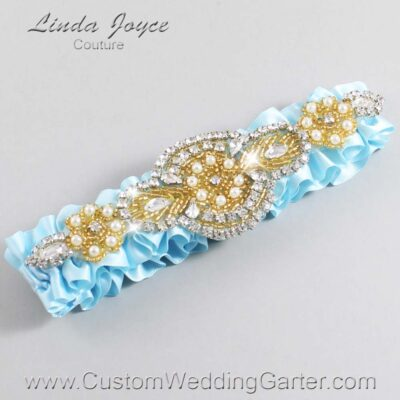 Alice Blue and Gold Wedding Garter / Blue Wedding Garters / Charlotte #01-A05-305-Alice-Blue_Gold / Wedding Garters / Custom Wedding Garters / Bridal Garter / Prom Garter / Linda Joyce Couture