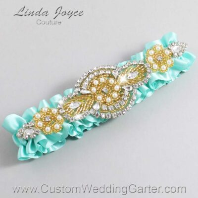Aqua and Gold Wedding Garter / Teal Wedding Garters / Charlotte #01-A05-314-Aqua_Gold / Wedding Garters / Custom Wedding Garters / Bridal Garter / Prom Garter / Linda Joyce Couture