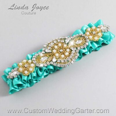 Tropic and Gold Wedding Garter / Teal Wedding Garters / Charlotte #01-A05-323-Tropic_Gold / Wedding Garters / Custom Wedding Garters / Bridal Garter / Prom Garter / Linda Joyce Couture