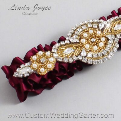 Wine and Gold Wedding Garter / Burgundy Wedding Garters / Charlotte #01-A05-332-Wine_Gold / Wedding Garters / Custom Wedding Garters / Bridal Garter / Prom Garter / Linda Joyce Couture