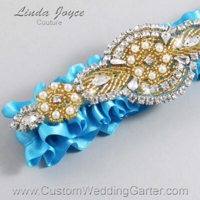 Turquoise and Gold Wedding Garter / Blue Wedding Garters / Charlotte #01-A05-340-Turquoise_Gold / Wedding Garters / Custom Wedding Garters / Bridal Garter / Prom Garter / Linda Joyce Couture
