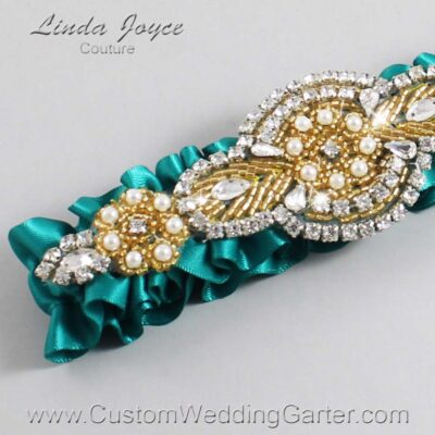 Mallard and Gold Wedding Garter / Teal Wedding Garters / Charlotte #01-A05-342-Mallard_Gold / Wedding Garters / Custom Wedding Garters / Bridal Garter / Prom Garter / Linda Joyce Couture