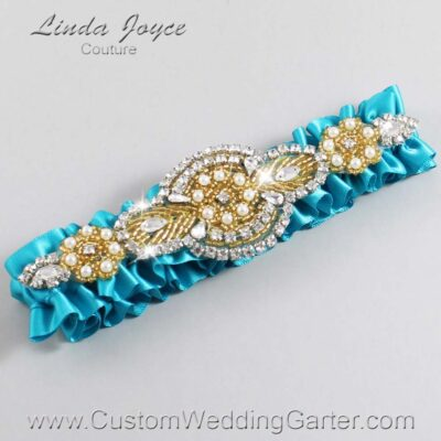 Tornado Blue and Gold Wedding Garter / Teal Wedding Garters / Charlotte #01-A05-344-Tornado-Blue_Gold / Wedding Garters / Custom Wedding Garters / Bridal Garter / Prom Garter / Linda Joyce Couture