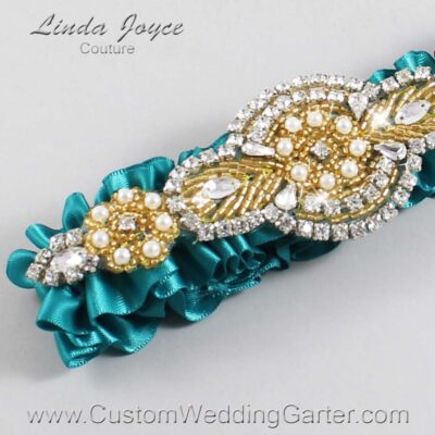 Jade and Gold Wedding Garter / Teal Wedding Garters / Charlotte #01-A05-346-Jade_Gold / Wedding Garters / Custom Wedding Garters / Bridal Garter / Prom Garter / Linda Joyce Couture