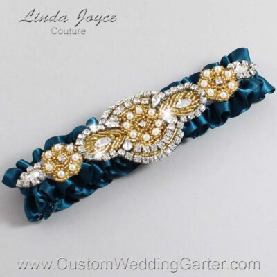 Teal and Gold Wedding Garter / Teal Wedding Garters / Charlotte #01-A05-347-Teal_Gold / Wedding Garters / Custom Wedding Garters / Bridal Garter / Prom Garter / Linda Joyce Couture