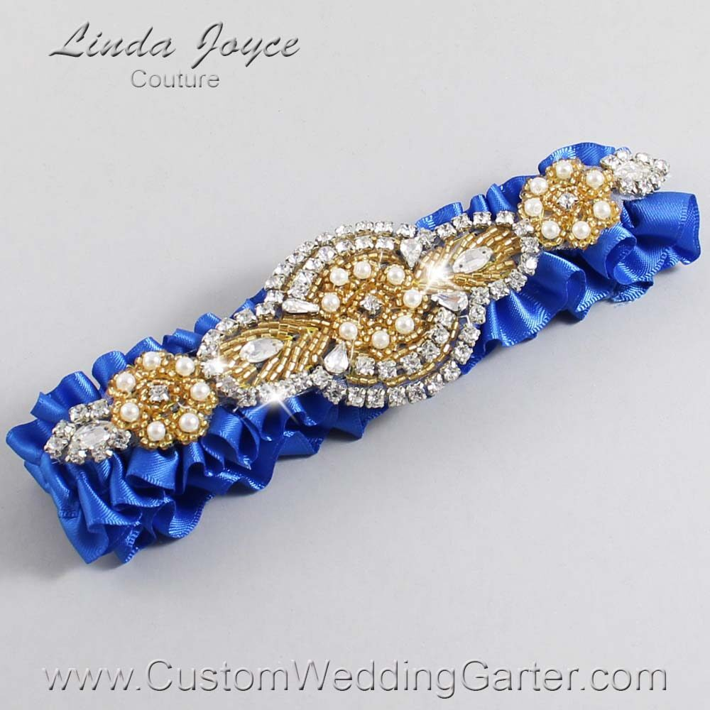 Royal Blue and Gold Wedding Garter / Blue Wedding Garters / Charlotte #01-A05-350-Royal-Blue_Gold / Wedding Garters / Custom Wedding Garters / Bridal Garter / Prom Garter / Linda Joyce Couture