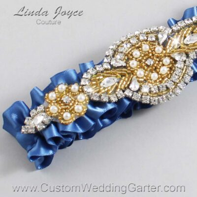 Smoke Blue and Gold Wedding Garter / Blue Wedding Garters / Charlotte #01-A05-363-Smoke-Blue_Gold / Wedding Garters / Custom Wedding Garters / Bridal Garter / Prom Garter / Linda Joyce Couture