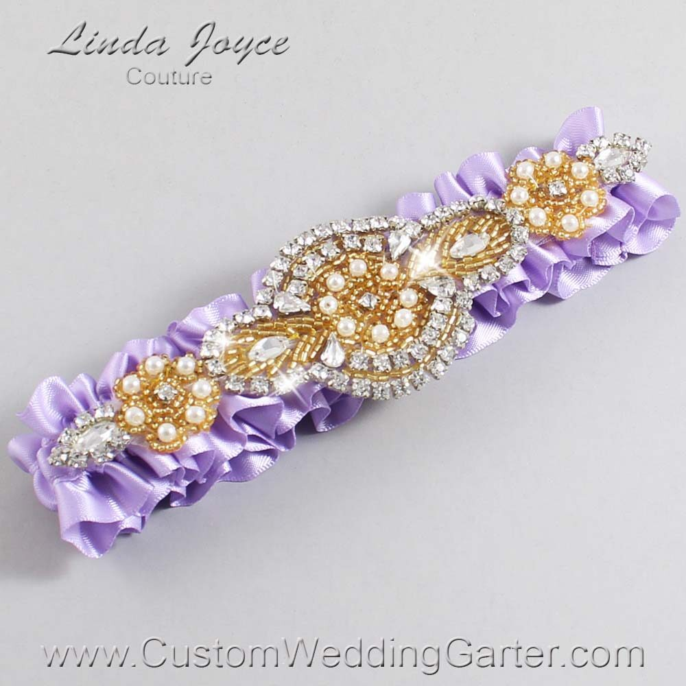 Lavender and Gold Wedding Garter / Purple Wedding Garters / Charlotte #01-A05-430-Lavender_Gold / Wedding Garters / Custom Wedding Garters / Bridal Garter / Prom Garter / Linda Joyce Couture