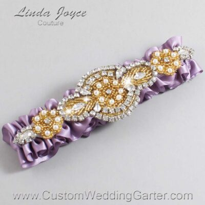 Fresco and Gold Wedding Garter / Purple Wedding Garters / Charlotte #01-A05-434-Fresco_Gold / Wedding Garters / Custom Wedding Garters / Bridal Garter / Prom Garter / Linda Joyce Couture