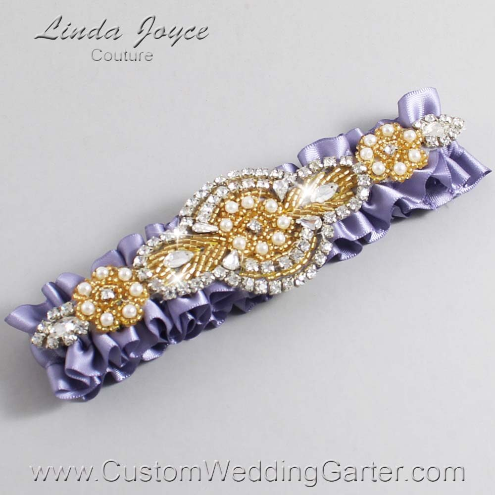 Thistle and Gold Wedding Garter / Purple Wedding Garters / Charlotte #01-A05-435-Thistle_Gold / Wedding Garters / Custom Wedding Garters / Bridal Garter / Prom Garter / Linda Joyce Couture