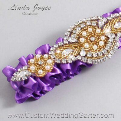 Grape and Gold Wedding Garter / Purple Wedding Garters / Charlotte #01-A05-463-Grape_Gold / Wedding Garters / Custom Wedding Garters / Bridal Garter / Prom Garter / Linda Joyce Couture