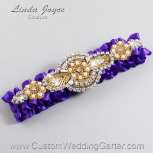 Eggplant and Gold Wedding Garter / Purple Wedding Garters / Charlotte #01-A05-465-Eggplant_Gold / Wedding Garters / Custom Wedding Garters / Bridal Garter / Prom Garter / Linda Joyce Couture