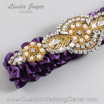 Amethyst and Gold Wedding Garter / Purple Wedding Garters / Charlotte #01-A05-473-Amethyst_Gold / Wedding Garters / Custom Wedding Garters / Bridal Garter / Prom Garter / Linda Joyce Couture