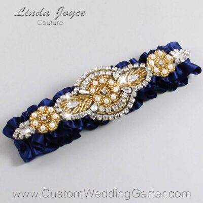 (Satin_Color_Name) and Gold Wedding Garter / Blue Wedding Garters / Charlotte #01-A05-508-Navy-Blue_Gold / Wedding Garters / Custom Wedding Garters / Bridal Garter / Prom Garter / Linda Joyce Couture