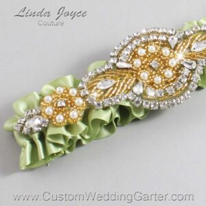 Lime Juice and Gold Wedding Garter / Green Wedding Garters / Charlotte #01-A05-524-Lime-Juice_Gold / Wedding Garters / Custom Wedding Garters / Bridal Garter / Prom Garter / Linda Joyce Couture